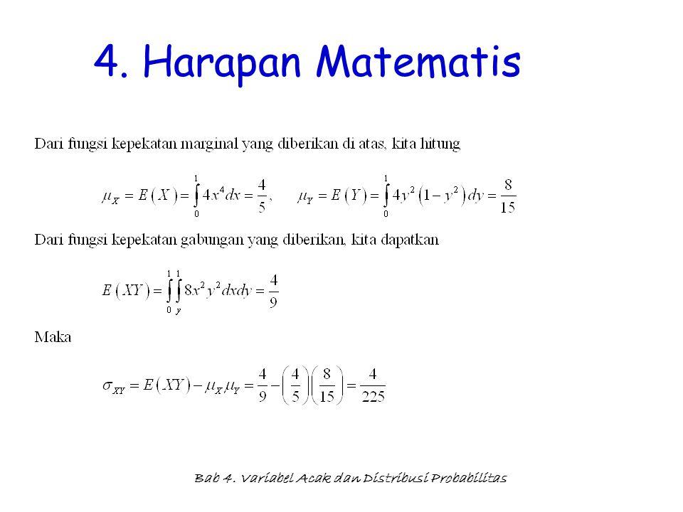 Bab 4. Variabel Acak dan Distribusi Probabilitas 4. Harapan Matematis