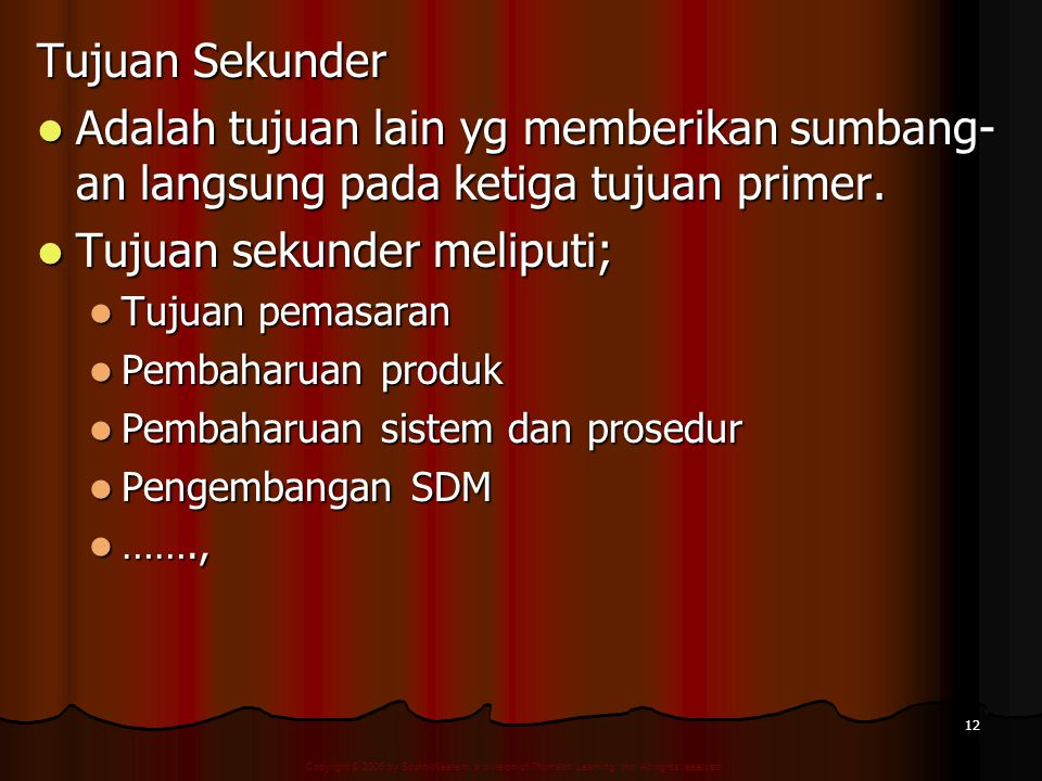 Copyright © 2005 by South-Western, a division of Thomson Learning, Inc. All rights reserved. 12 Tujuan Sekunder Adalah tujuan lain yg memberikan sumba