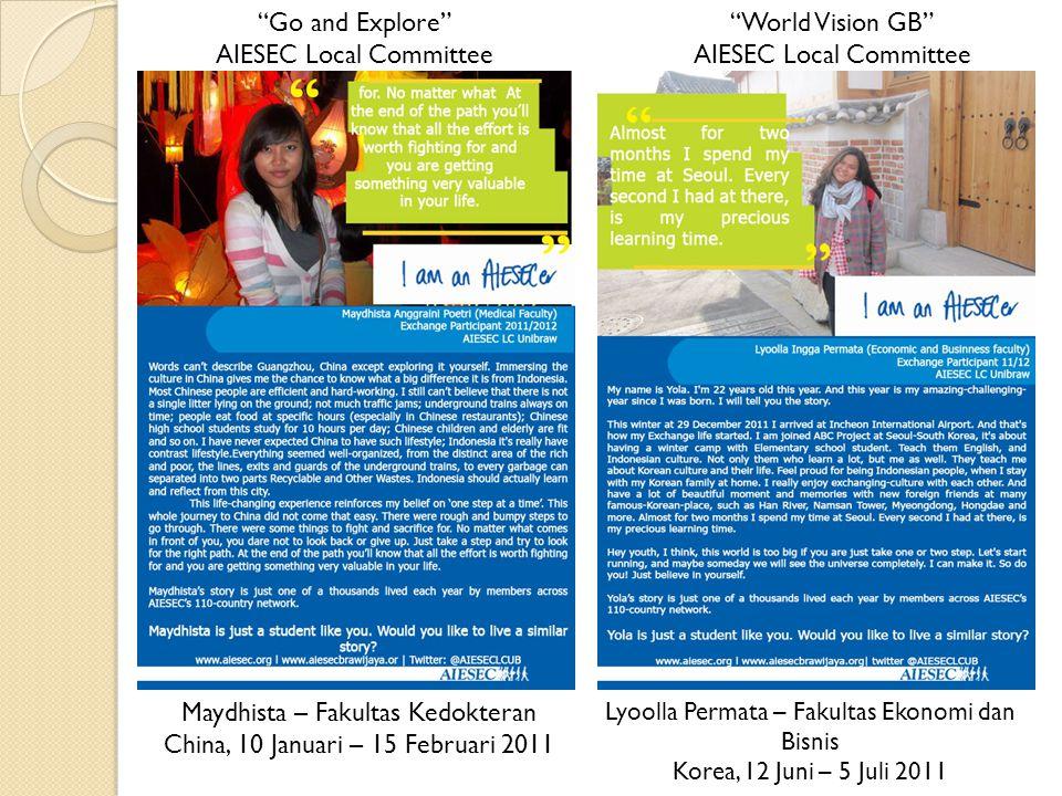 Maydhista – Fakultas Kedokteran China, 10 Januari – 15 Februari 2011 Go and Explore AIESEC Local Committee Lyoolla Permata – Fakultas Ekonomi dan Bisnis Korea, 12 Juni – 5 Juli 2011 World Vision GB AIESEC Local Committee