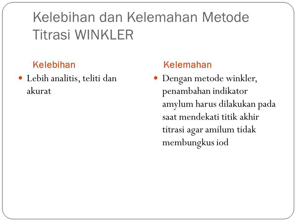 Kelebihan dan Kelemahan Metode Titrasi WINKLER KelebihanKelemahan Lebih analitis, teliti dan akurat Dengan metode winkler, penambahan indikator amylum