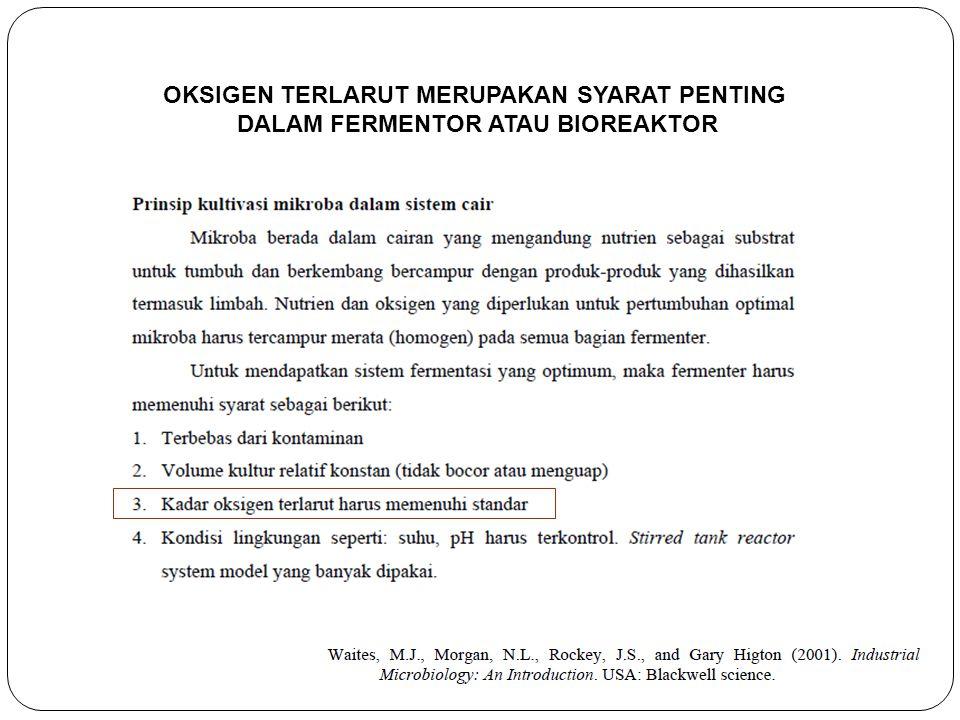 OKSIGEN TERLARUT MERUPAKAN SYARAT PENTING DALAM FERMENTOR ATAU BIOREAKTOR