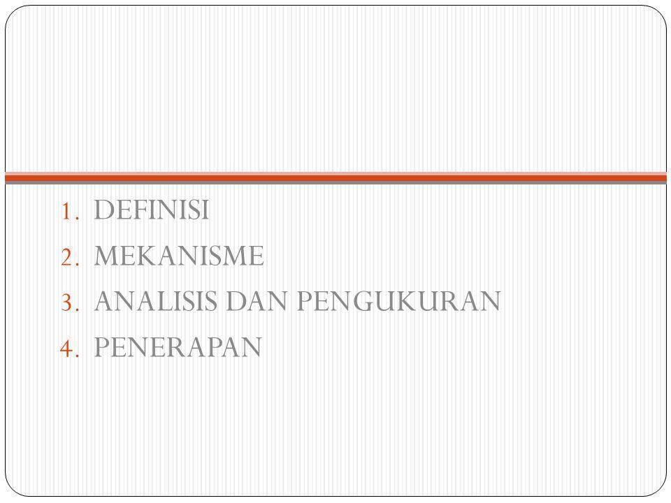 1. DEFINISI 2. MEKANISME 3. ANALISIS DAN PENGUKURAN 4. PENERAPAN