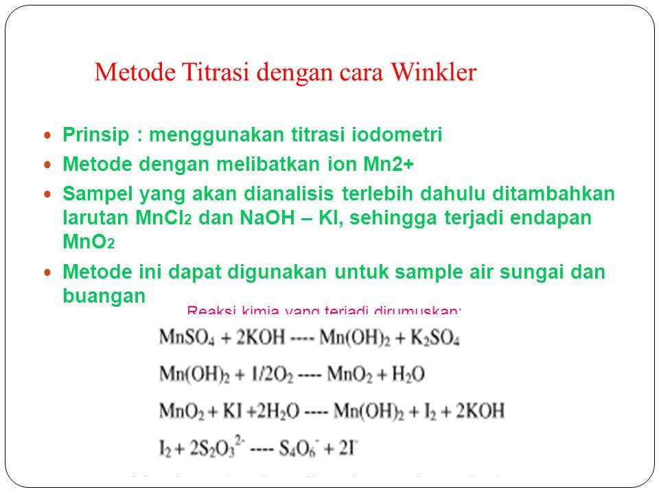 Metode Titrasi dengan cara Winkler Prinsip : menggunakan titrasi iodometri Metode dengan melibatkan ion Mn2+ Sampel yang akan dianalisis terlebih dahu