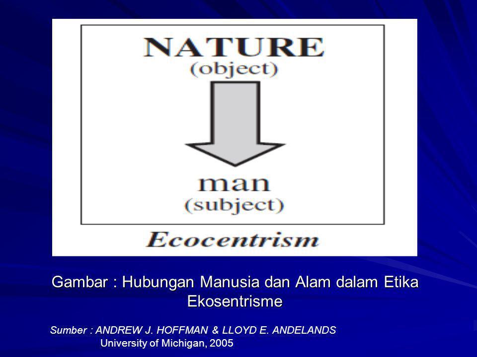 Gambar : Hubungan Manusia dan Alam dalam Etika Ekosentrisme Sumber : ANDREW J. HOFFMAN & LLOYD E. ANDELANDS University of Michigan, 2005