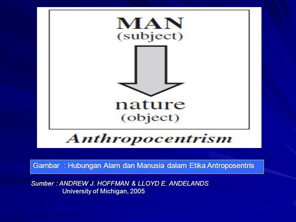 Gambar : Hubungan Alam dan Manusia dalam Etika Antroposentris Sumber : ANDREW J. HOFFMAN & LLOYD E. ANDELANDS University of Michigan, 2005