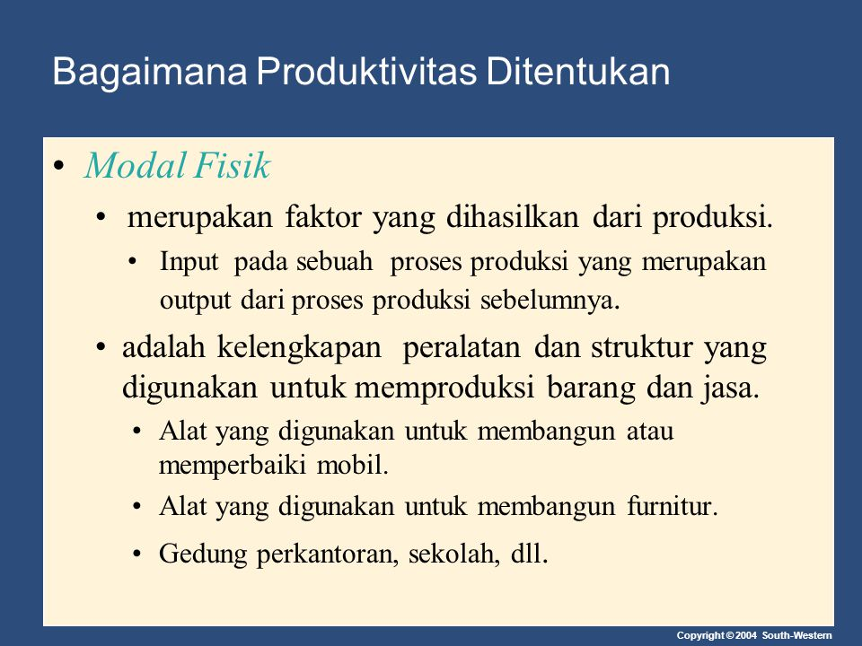 Copyright © 2004 South-Western Bagaimana Produktivitas Ditentukan Modal Fisik merupakan faktor yang dihasilkan dari produksi. Input pada sebuah proses
