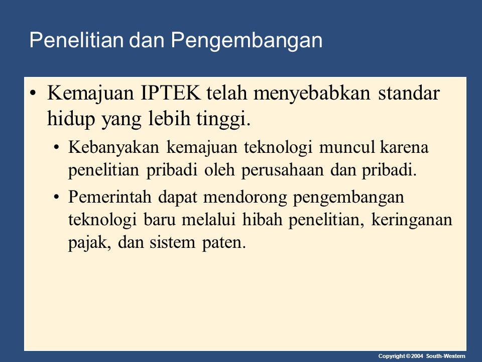 Copyright © 2004 South-Western Penelitian dan Pengembangan Kemajuan IPTEK telah menyebabkan standar hidup yang lebih tinggi. Kebanyakan kemajuan tekno