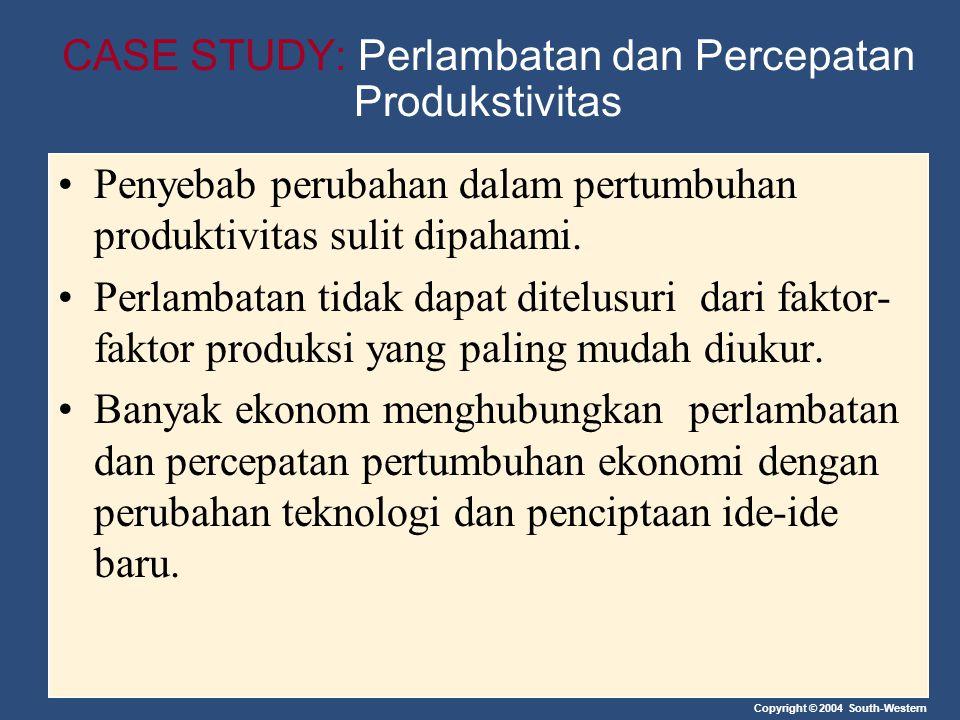 Copyright © 2004 South-Western CASE STUDY: Perlambatan dan Percepatan Produkstivitas Penyebab perubahan dalam pertumbuhan produktivitas sulit dipahami