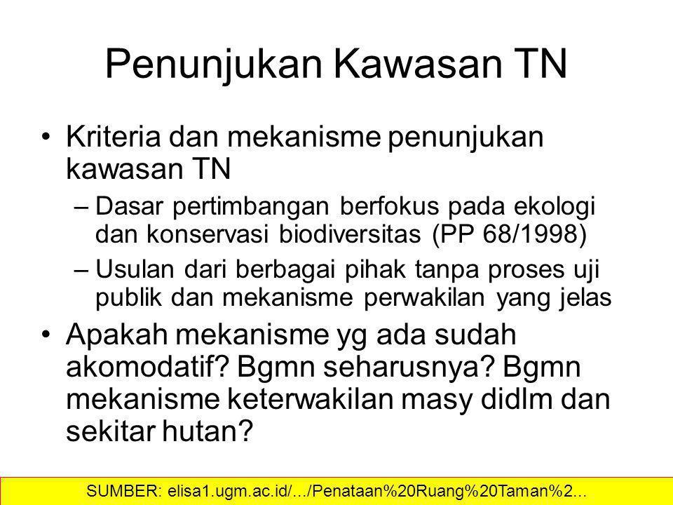 Penunjukan Kawasan TN Kriteria dan mekanisme penunjukan kawasan TN –Dasar pertimbangan berfokus pada ekologi dan konservasi biodiversitas (PP 68/1998)