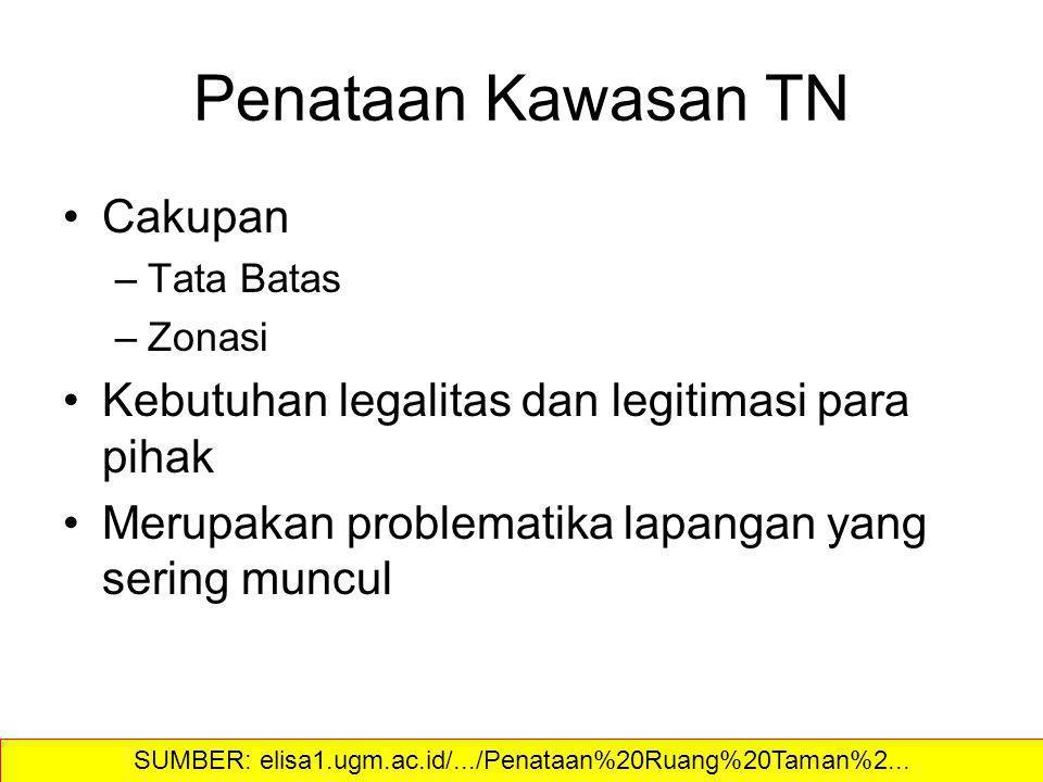 Penataan Kawasan TN Cakupan –Tata Batas –Zonasi Kebutuhan legalitas dan legitimasi para pihak Merupakan problematika lapangan yang sering muncul SUMBE