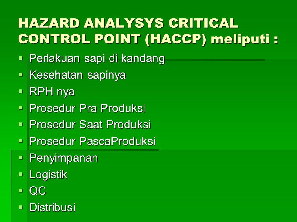 HAZARD ANALYSYS CRITICAL CONTROL POINT (HACCP) meliputi :  Perlakuan sapi di kandang  Kesehatan sapinya  RPH nya  Prosedur Pra Produksi  Prosedur Saat Produksi  Prosedur PascaProduksi  Penyimpanan  Logistik  QC  Distribusi