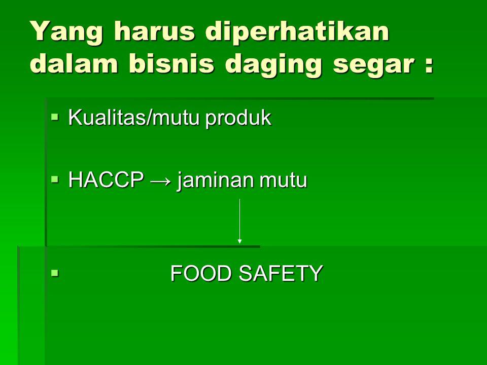 Yang harus diperhatikan dalam bisnis daging segar :  Kualitas/mutu produk  HACCP → jaminan mutu  FOOD SAFETY