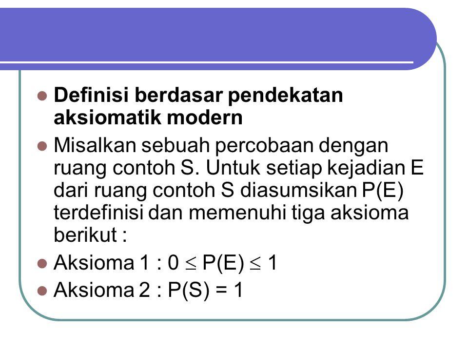 Definisi berdasar pendekatan aksiomatik modern Misalkan sebuah percobaan dengan ruang contoh S.