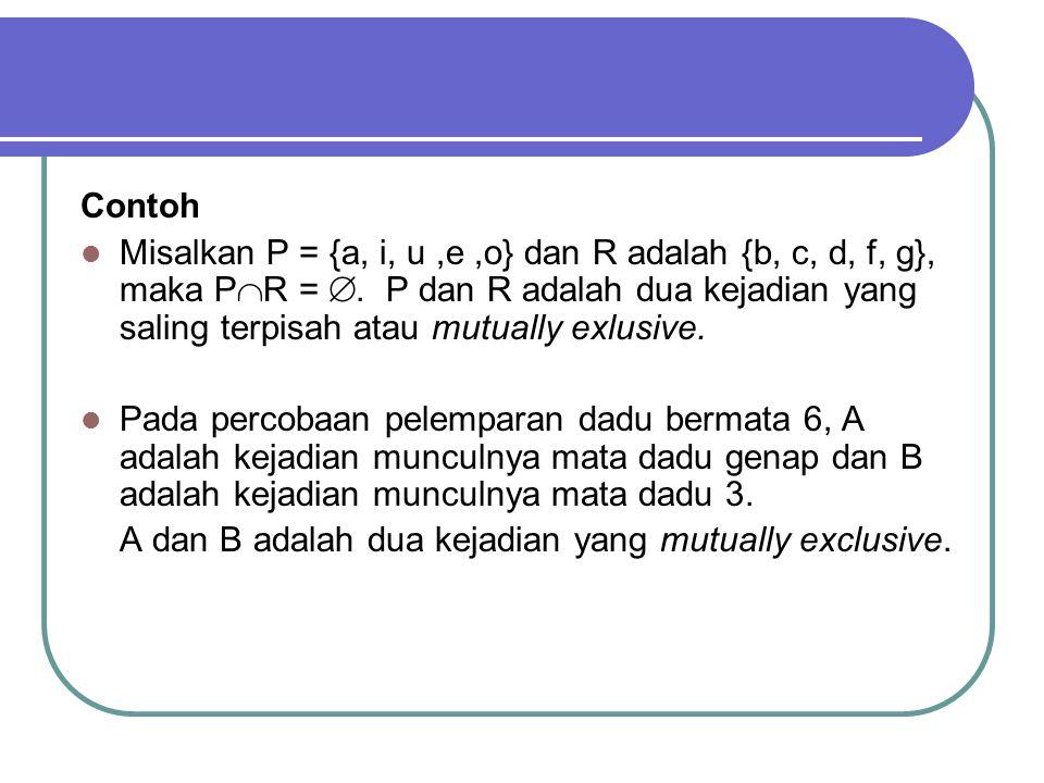 Contoh Misalkan P = {a, i, u,e,o} dan R adalah {b, c, d, f, g}, maka P  R = .