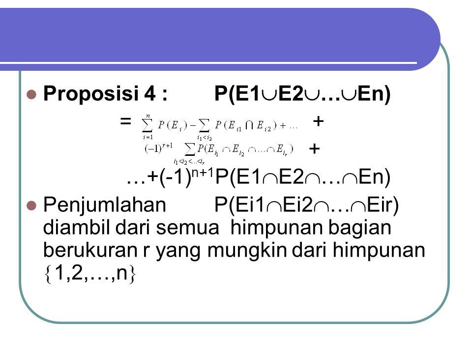 Proposisi 4 :P(E1  E2  …  En) = + + …+(-1) n+1 P(E1  E2  …  En) Penjumlahan P(Ei1  Ei2  …  Eir) diambil dari semua himpunan bagian berukuran r yang mungkin dari himpunan  1,2,…,n 