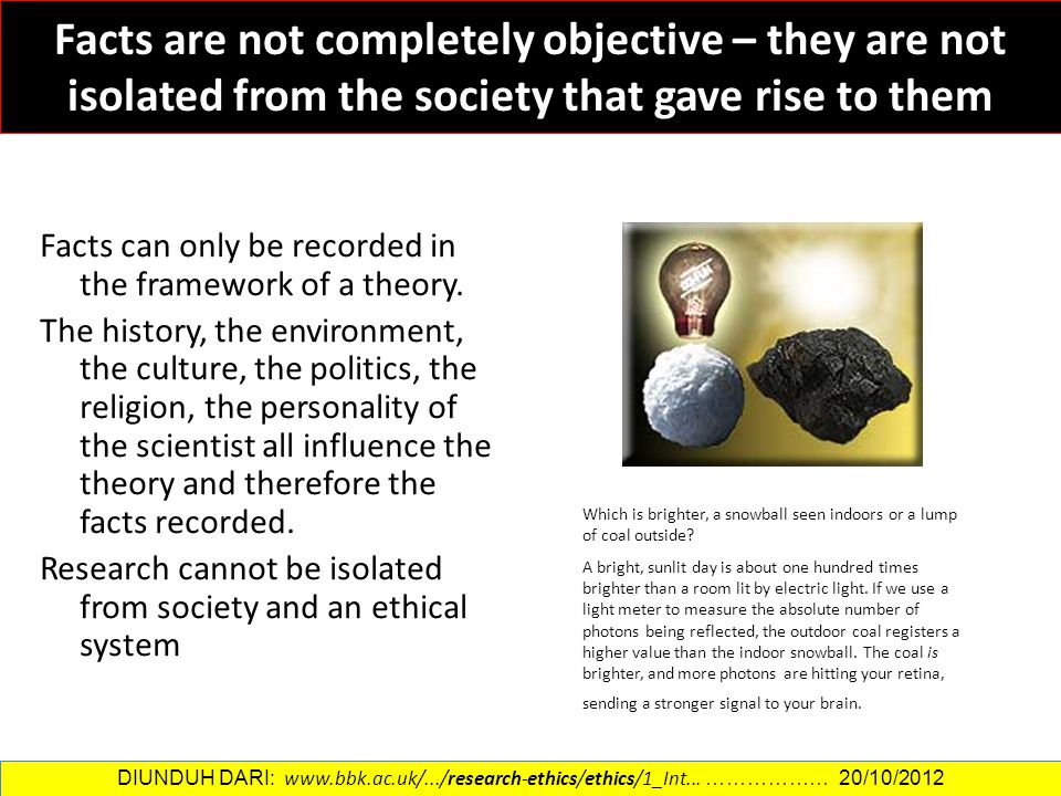 Facts are not completely objective – they are not isolated from the society that gave rise to them Facts can only be recorded in the framework of a th