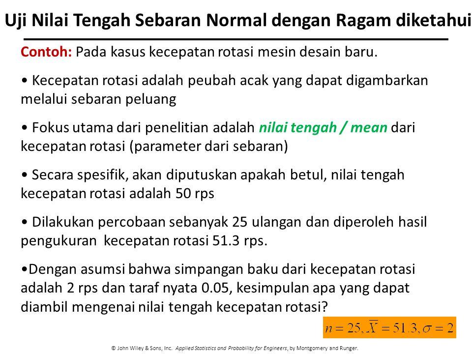 © John Wiley & Sons, Inc. Applied Statistics and Probability for Engineers, by Montgomery and Runger. Uji Nilai Tengah Sebaran Normal dengan Ragam dik