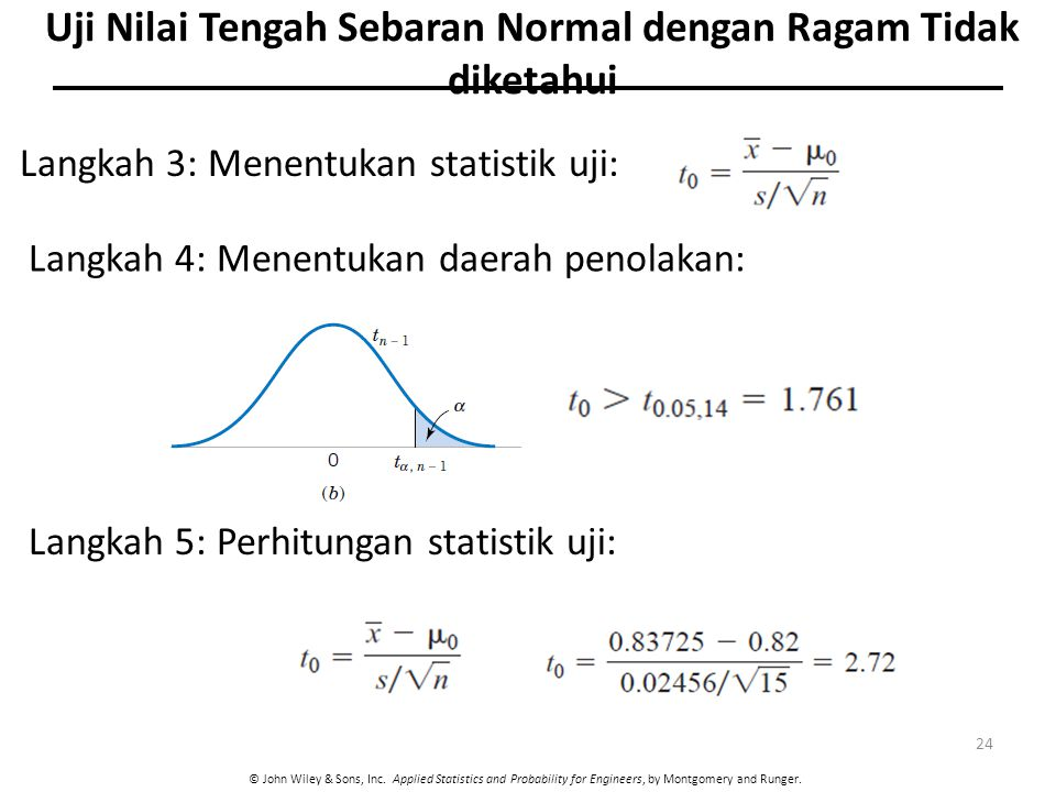© John Wiley & Sons, Inc. Applied Statistics and Probability for Engineers, by Montgomery and Runger. 24 Langkah 3: Menentukan statistik uji: Langkah