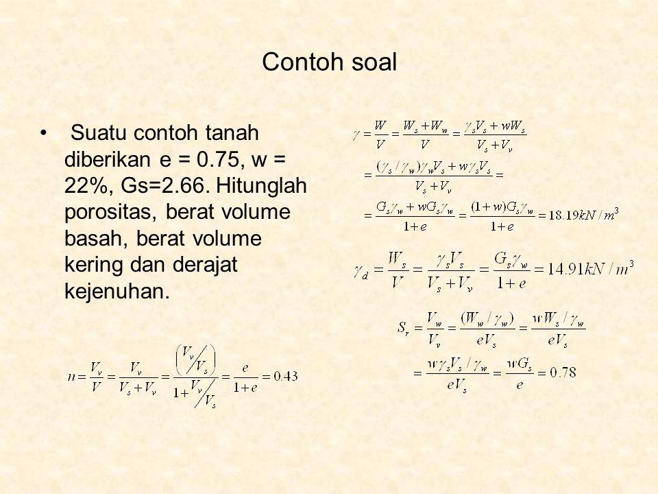 Contoh soal Suatu contoh tanah diberikan e = 0.75, w = 22%, Gs=2.66. Hitunglah porositas, berat volume basah, berat volume kering dan derajat kejenuha