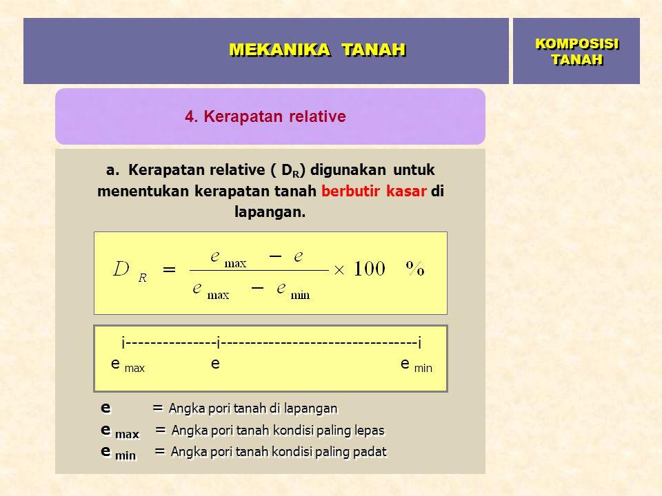 a. Kerapatan relative ( D R ) digunakan untuk menentukan kerapatan tanah berbutir kasar di lapangan. e = Angka pori tanah di lapangan e max = Angka po