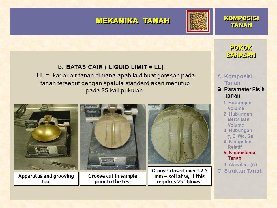 POKOK BAHASAN b. BATAS CAIR ( LIQUID LIMIT = LL) LL = kadar air tanah dimana apabila dibuat goresan pada tanah tersebut dengan spatula standard akan m
