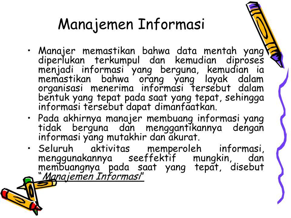 Manajemen Informasi Manajer memastikan bahwa data mentah yang diperlukan terkumpul dan kemudian diproses menjadi informasi yang berguna, kemudian ia m