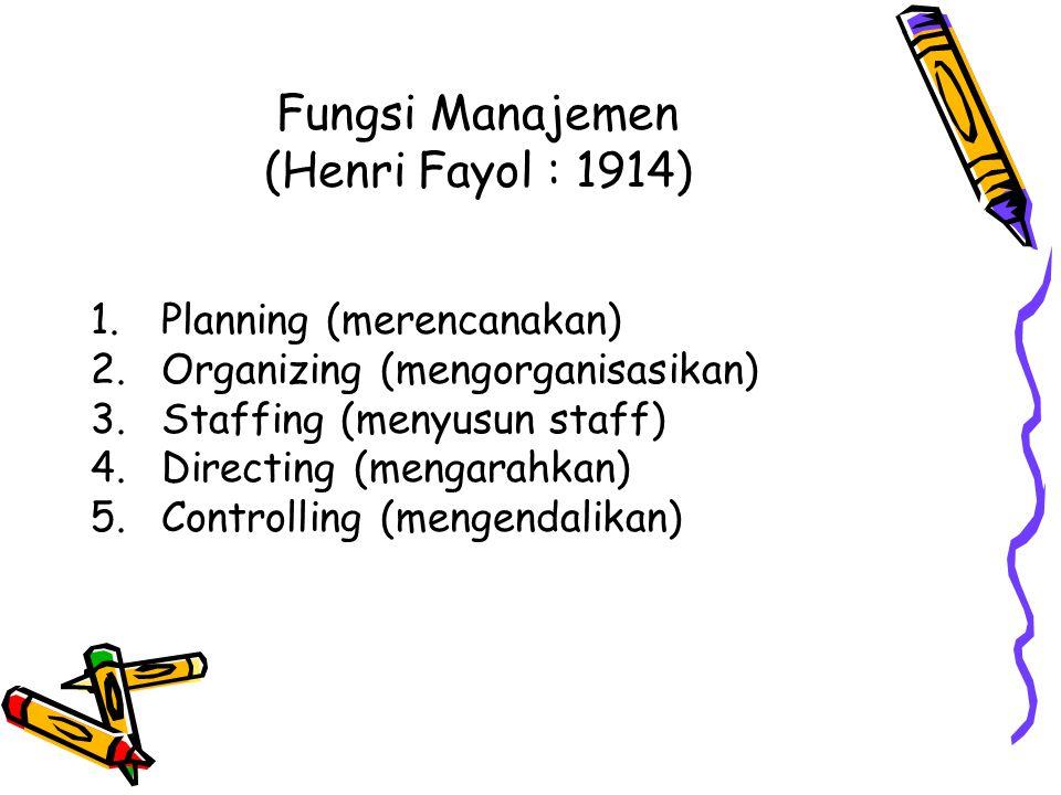 Fungsi Manajemen (Henri Fayol : 1914) 1.Planning (merencanakan) 2.Organizing (mengorganisasikan) 3.Staffing (menyusun staff) 4.Directing (mengarahkan)