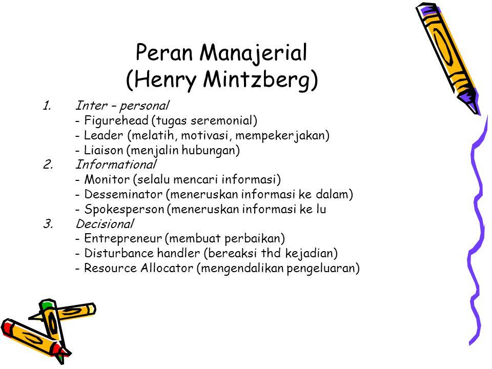 Peran Manajerial (Henry Mintzberg) 1.Inter – personal - Figurehead (tugas seremonial) - Leader (melatih, motivasi, mempekerjakan) - Liaison (menjalin