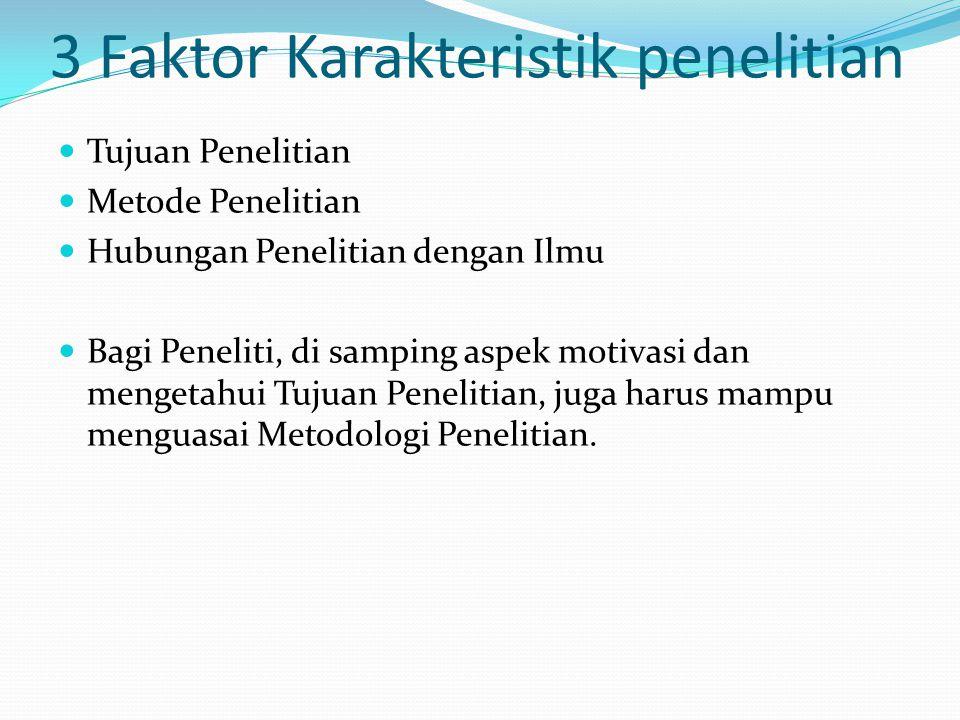3 Faktor Karakteristik penelitian Tujuan Penelitian Metode Penelitian Hubungan Penelitian dengan Ilmu Bagi Peneliti, di samping aspek motivasi dan men
