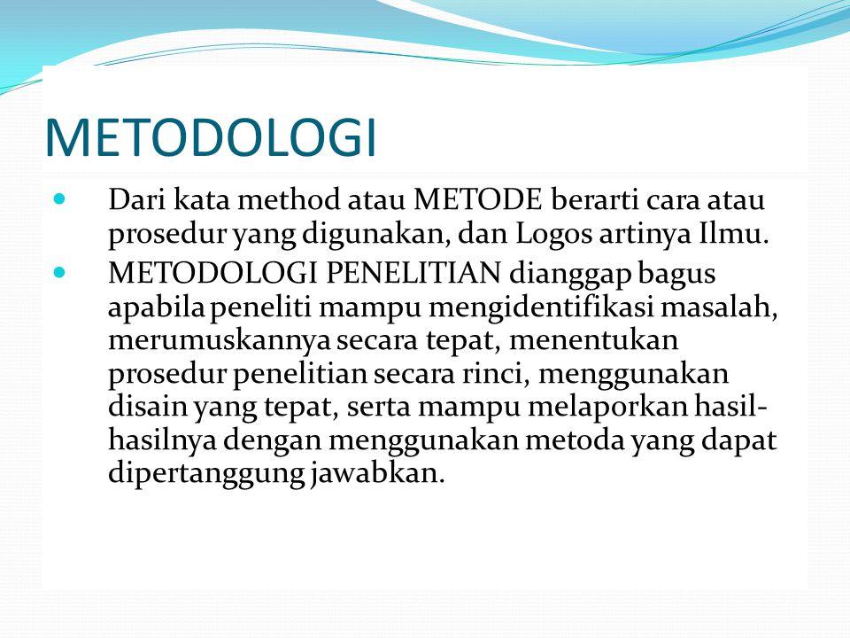 METODOLOGI Dari kata method atau METODE berarti cara atau prosedur yang digunakan, dan Logos artinya Ilmu. METODOLOGI PENELITIAN dianggap bagus apabil