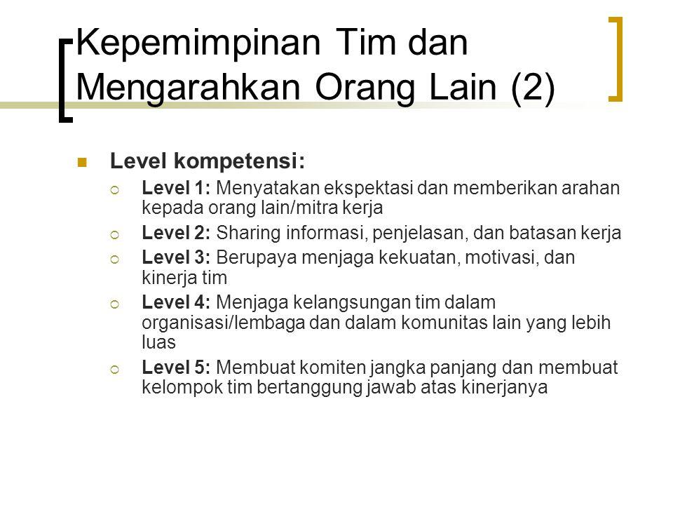 Kepemimpinan Tim dan Mengarahkan Orang Lain (2) Level kompetensi:  Level 1: Menyatakan ekspektasi dan memberikan arahan kepada orang lain/mitra kerja