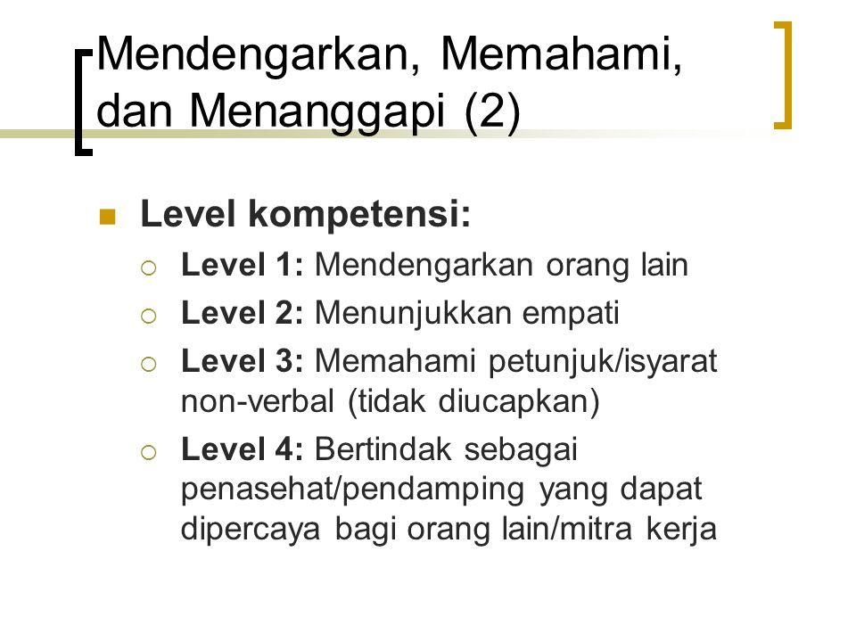 Mendengarkan, Memahami, dan Menanggapi (2) Level kompetensi:  Level 1: Mendengarkan orang lain  Level 2: Menunjukkan empati  Level 3: Memahami petu