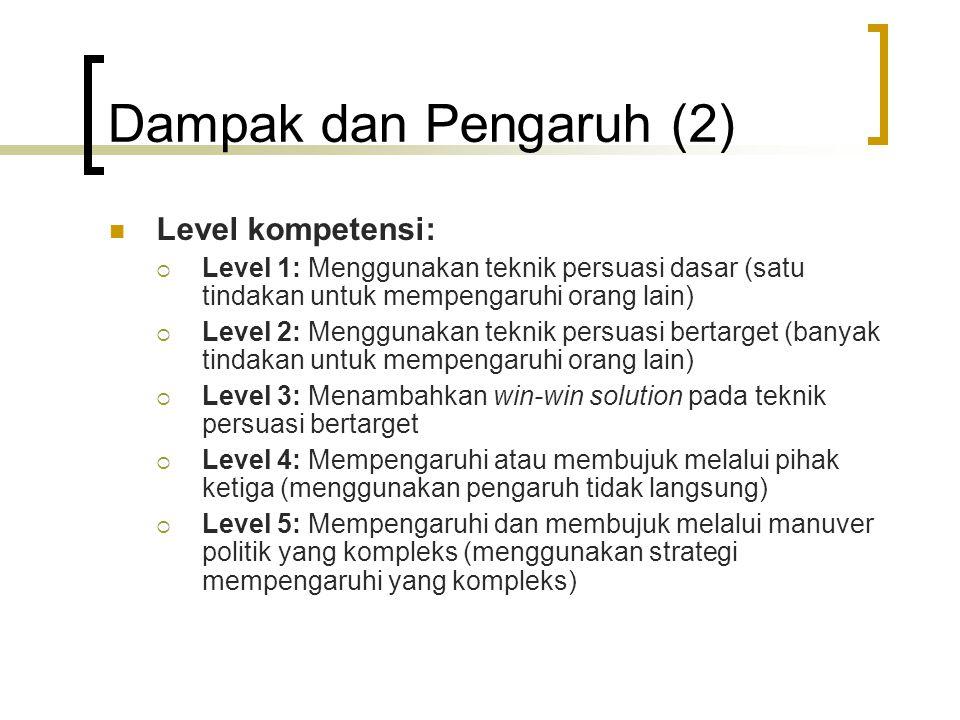 Dampak dan Pengaruh (2) Level kompetensi:  Level 1: Menggunakan teknik persuasi dasar (satu tindakan untuk mempengaruhi orang lain)  Level 2: Menggu
