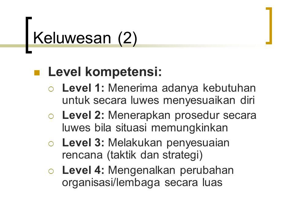 Keluwesan (2) Level kompetensi:  Level 1: Menerima adanya kebutuhan untuk secara luwes menyesuaikan diri  Level 2: Menerapkan prosedur secara luwes