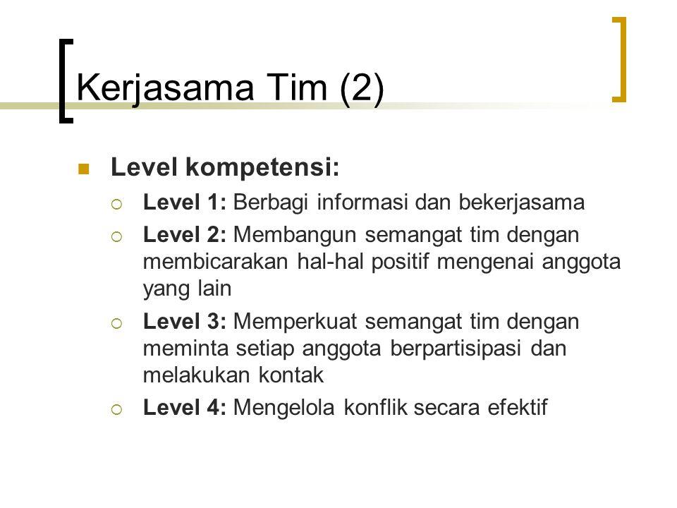 Kerjasama Tim (2) Level kompetensi:  Level 1: Berbagi informasi dan bekerjasama  Level 2: Membangun semangat tim dengan membicarakan hal-hal positif