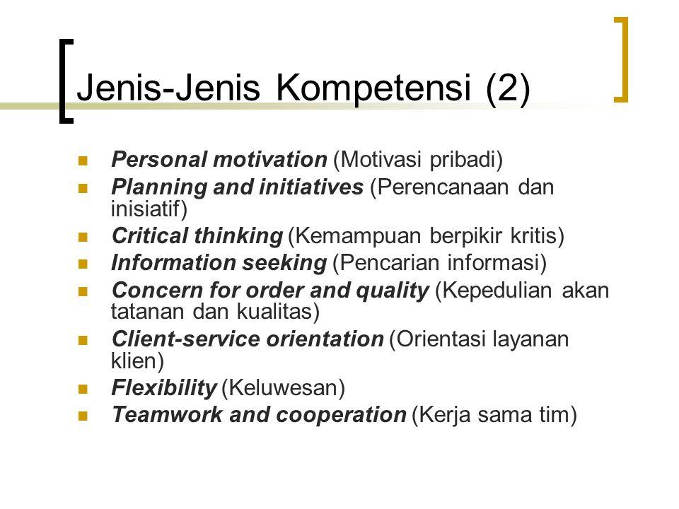 Berbagi Pengetahuan/Keahlian (1) Definisi singkat: Motivasi untuk memperluas dan memanfaatkan pengetahuan yang dimiliki yang ditunjukkan dengan kesediaan berbagi pengetahuan dengan orang lain/mitra kerja Inti kompetensi: Seberapa jauh seseorang berbagi pengetahuan/keahlian dengan orang lain/mitra kerja?