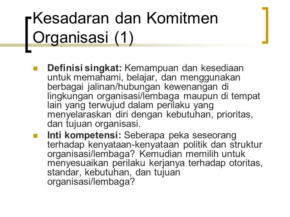 Kesadaran dan Komitmen Organisasi (2) Level kompetensi:  Level 1: Memahami struktur-struktur formal dan informal organisasi/lembaga  Level 2: Memahami iklim kerja dan budaya organisasi  Level 3: Memahami politik organisasi dan mendukung organisasi/lembaga  Level 4: Memahami persoalan organisasi/lembaga yang mendasar dan bersifat jangka panjang serta rela berkorban demi organisasi/lembaga