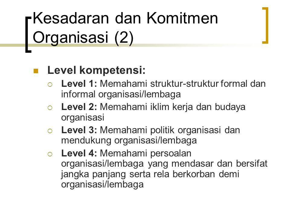 Kesadaran dan Komitmen Organisasi (2) Level kompetensi:  Level 1: Memahami struktur-struktur formal dan informal organisasi/lembaga  Level 2: Memaha