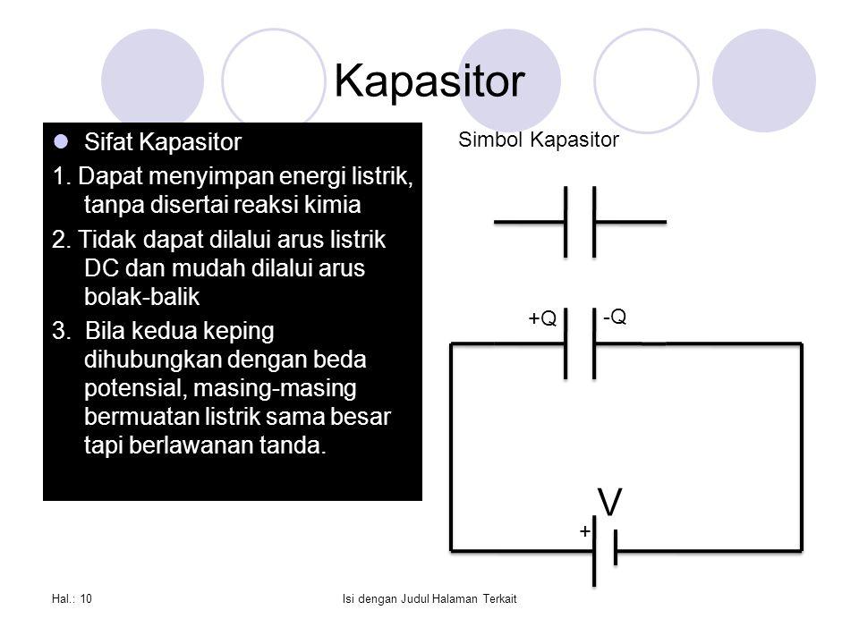 Kapasitor Sifat Kapasitor 1.Dapat menyimpan energi listrik, tanpa disertai reaksi kimia 2.