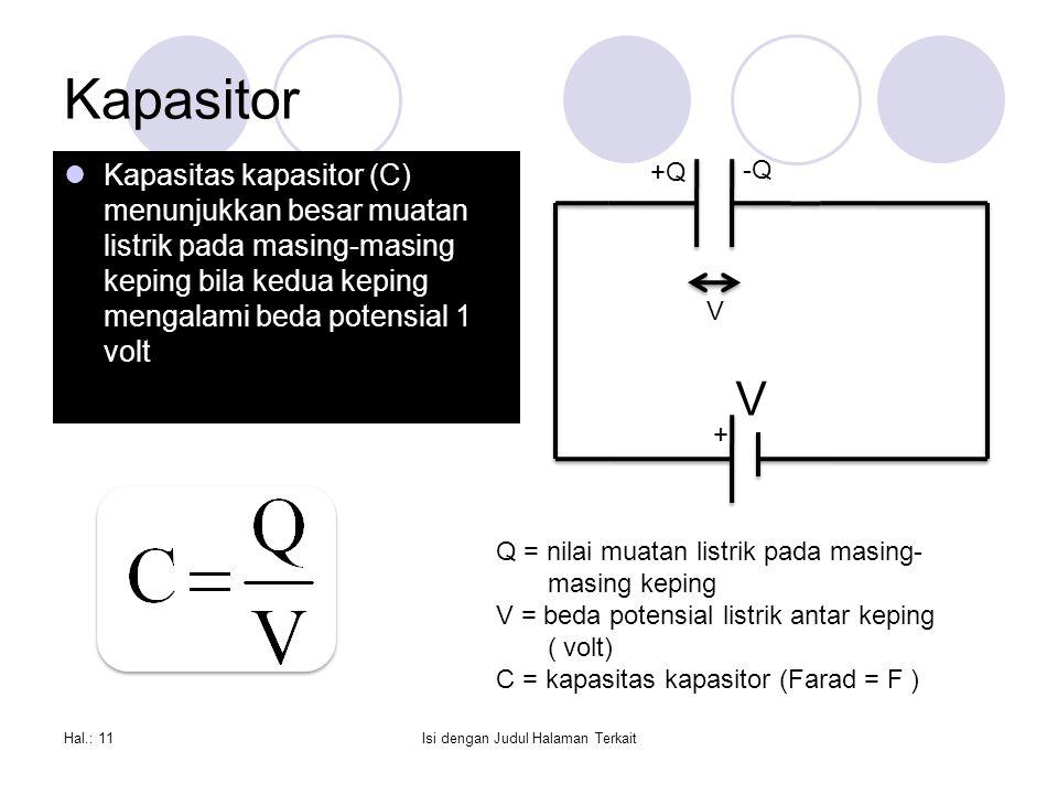Kapasitor Kapasitas kapasitor (C) menunjukkan besar muatan listrik pada masing-masing keping bila kedua keping mengalami beda potensial 1 volt Hal.: 11Isi dengan Judul Halaman Terkait + V +Q -Q V Q = nilai muatan listrik pada masing- masing keping V = beda potensial listrik antar keping ( volt) C = kapasitas kapasitor (Farad = F )
