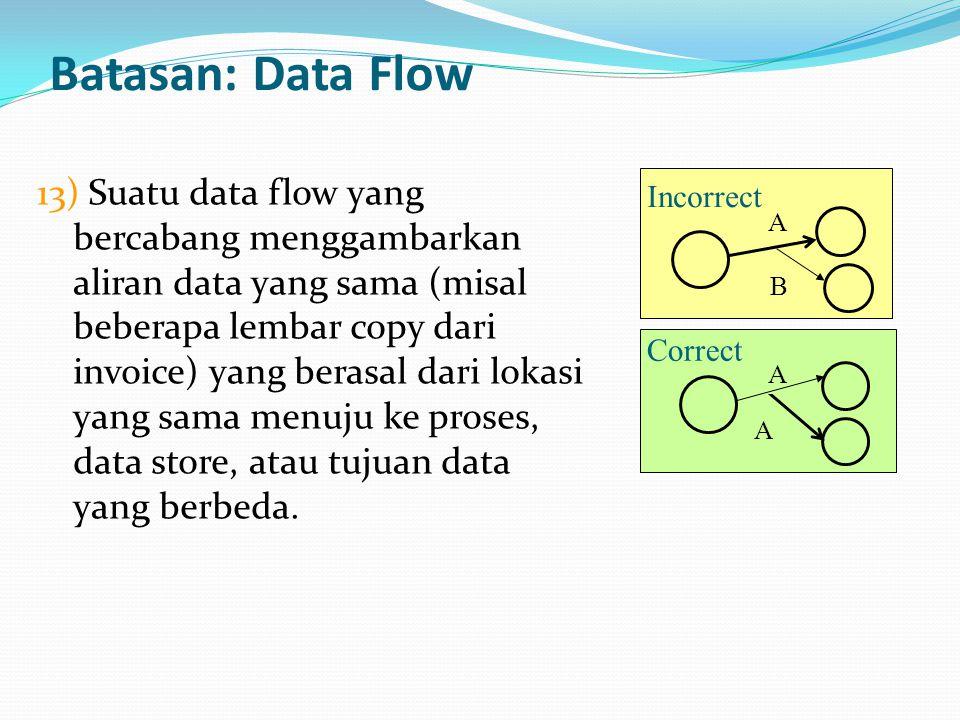 Batasan: Data Flow 13) Suatu data flow yang bercabang menggambarkan aliran data yang sama (misal beberapa lembar copy dari invoice) yang berasal dari