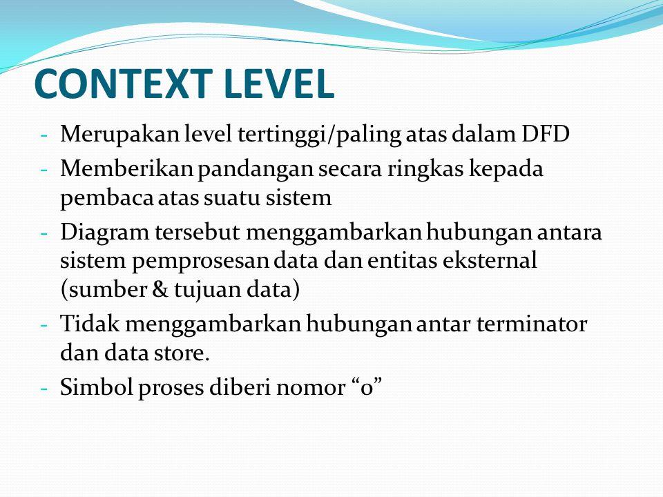 CONTEXT LEVEL - Merupakan level tertinggi/paling atas dalam DFD - Memberikan pandangan secara ringkas kepada pembaca atas suatu sistem - Diagram terse