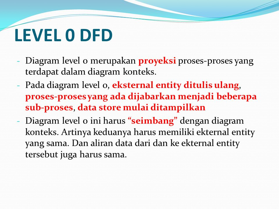LEVEL 0 DFD - Diagram level 0 merupakan proyeksi proses-proses yang terdapat dalam diagram konteks. - Pada diagram level 0, eksternal entity ditulis u