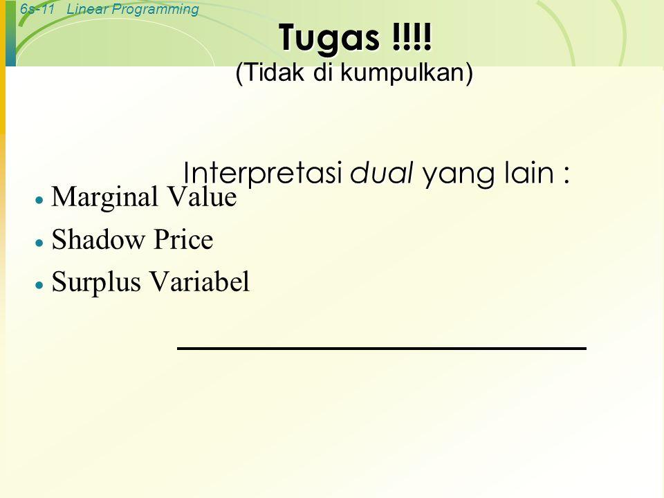 6s-11Linear Programming Interpretasi dual yang lain :  Marginal Value  Shadow Price  Surplus Variabel Tugas !!!! (Tidak di kumpulkan)