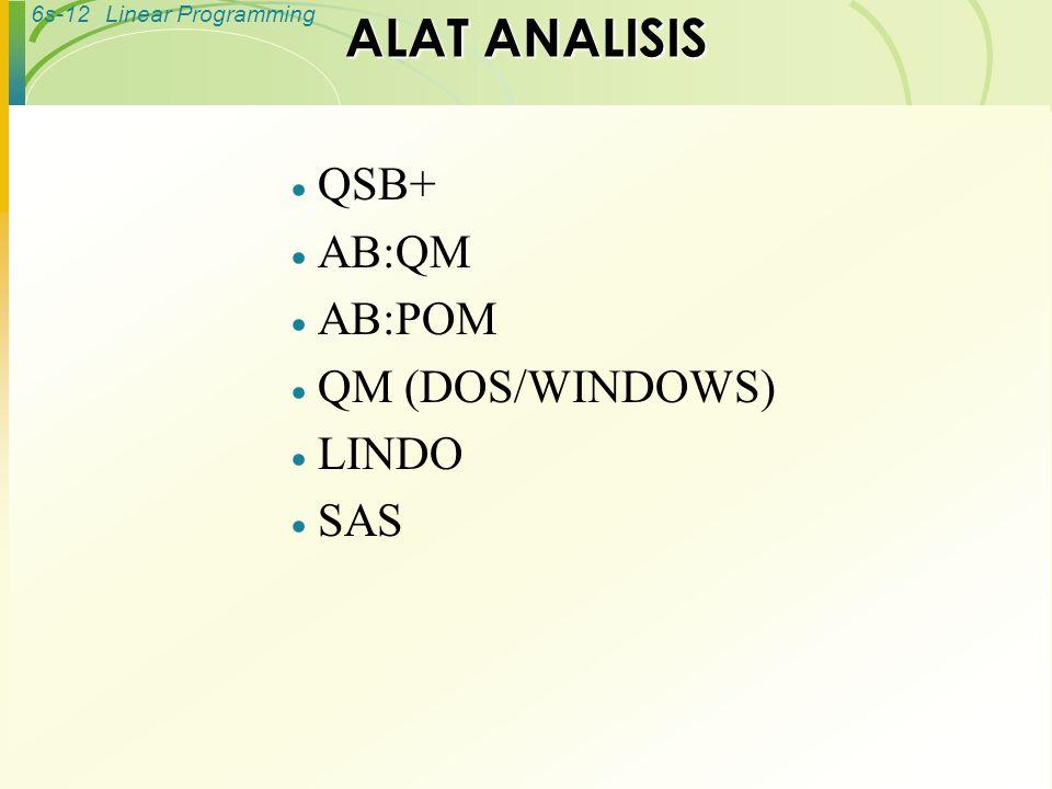 6s-12Linear Programming ALAT ANALISIS  QSB+  AB:QM  AB:POM  QM (DOS/WINDOWS)  LINDO  SAS