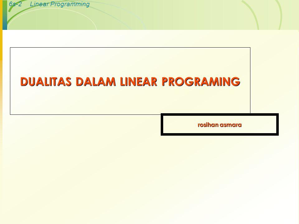 6s-3Linear Programming KONSEP DUALITAS  Setiap persoalan linear programing mempunyai suatu linear program yang berkaitan, yang disebut dual .