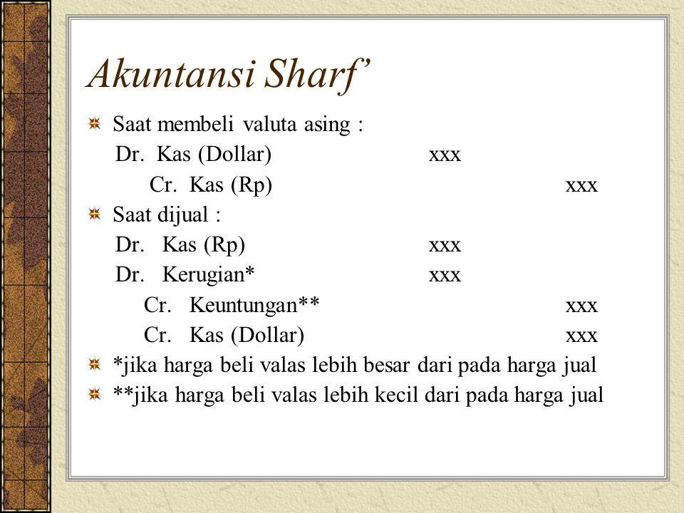 Akuntansi Sharf' Saat membeli valuta asing : Dr.Kas (Dollar)xxx Cr.