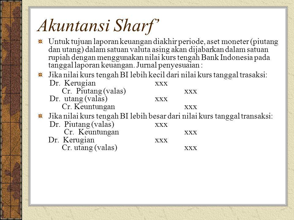 Akuntansi Sharf' Untuk tujuan laporan keuangan diakhir periode, aset moneter (piutang dan utang) dalam satuan valuta asing akan dijabarkan dalam satuan rupiah dengan menggunakan nilai kurs tengah Bank Indonesia pada tanggal laporan keuangan.
