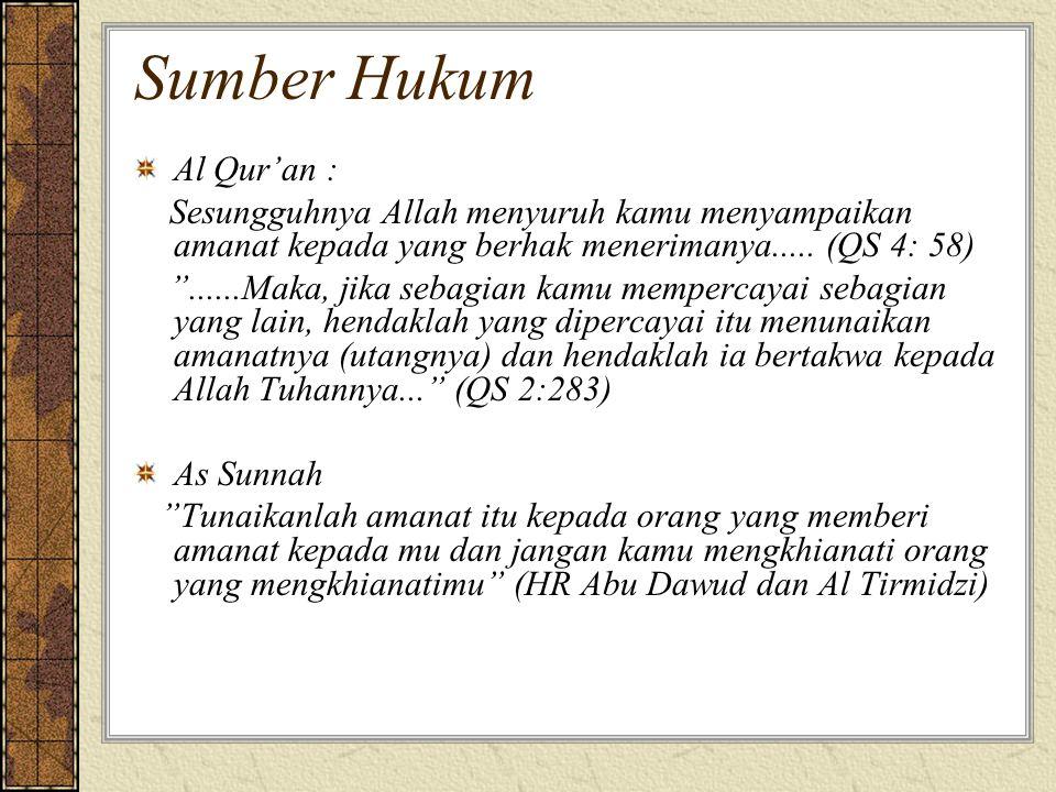 Sumber Hukum Al Qur'an : Sesungguhnya Allah menyuruh kamu menyampaikan amanat kepada yang berhak menerimanya.....