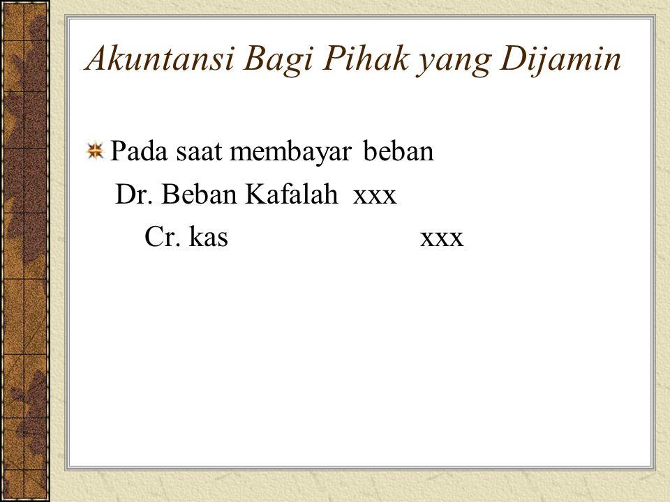 Akuntansi Bagi Pihak yang Dijamin Pada saat membayar beban Dr. Beban Kafalahxxx Cr. kasxxx